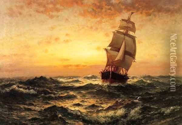 Ship at Sea, Sunset Oil Painting - Edward Moran