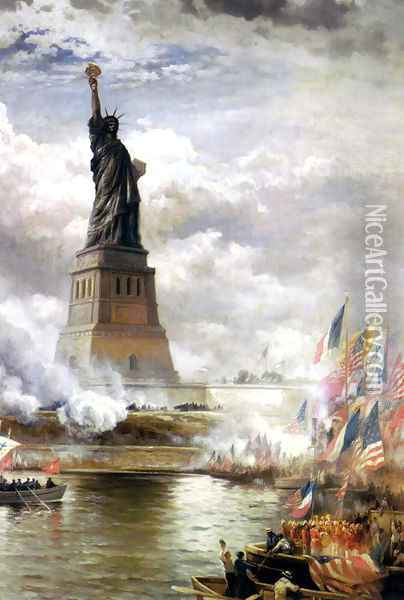 Unveiling the Statue of Liberty Oil Painting - Edward Moran