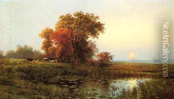 Sunset on the Marsh Oil Painting - Edward Moran