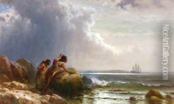 Watching Henry Hudson Enter New York Bay Oil Painting - Edward Moran