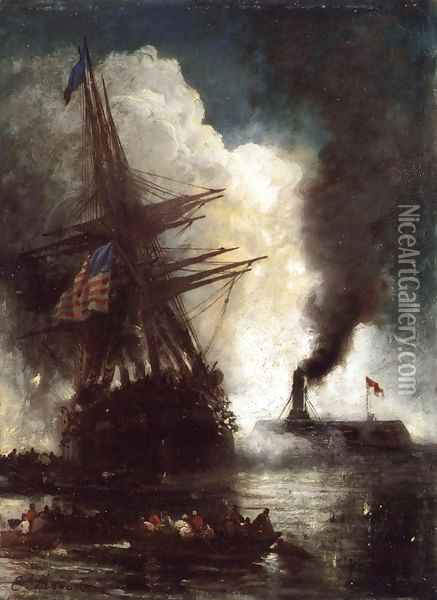 Battle Between Ironclad, Merrimac and Chesapeake Oil Painting - Edward Moran