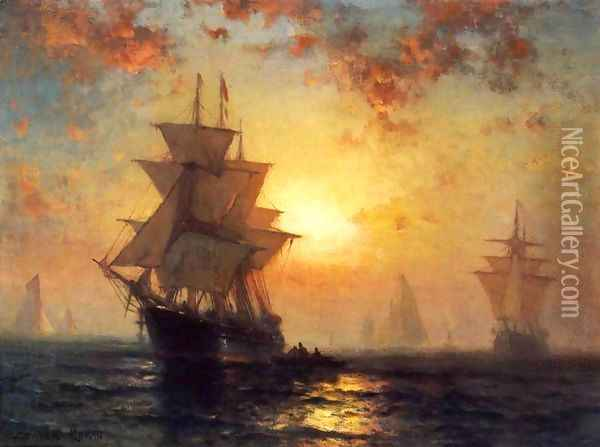 Ships at Night Oil Painting - Edward Moran