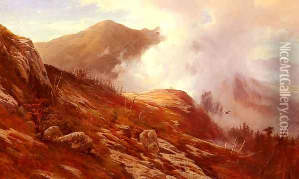 Half-Way Up Mt. Washington Oil Painting - Edward Moran