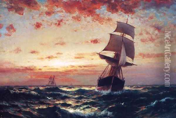 Ships at Sea I Oil Painting - Edward Moran