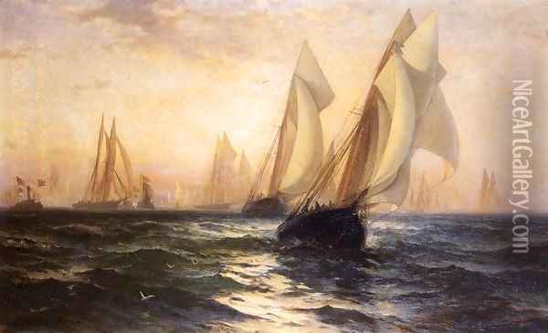Ships in Harbor Oil Painting - Edward Moran