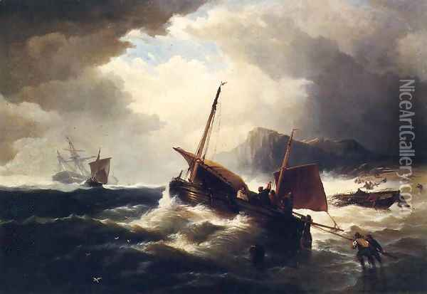 The Morning After the Wreck Oil Painting - Edward Moran