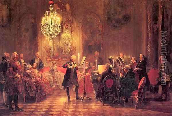 A Flute Concert of Frederick the Great at Sanssouci 1852 Oil Painting - Adolph von Menzel