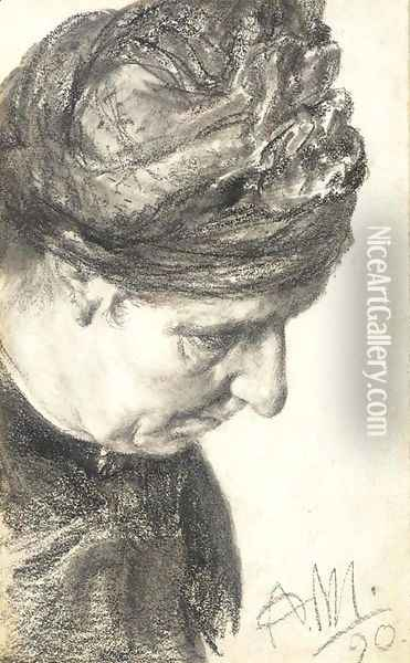 Head of an woman looking down to the right Oil Painting - Adolph von Menzel