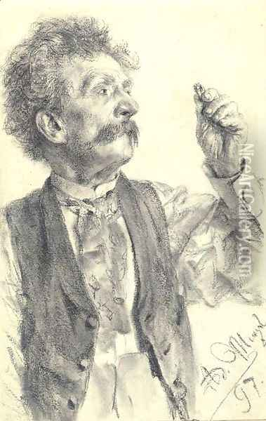 A man holding up a ring, three-quarter-length Oil Painting - Adolph von Menzel