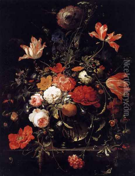 A Glass of Flowers and an Orange Twig 1660s Oil Painting - Abraham Mignon