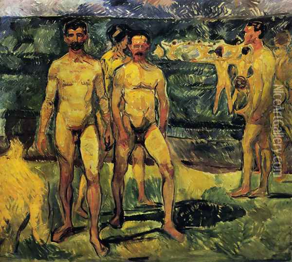 Bathing Men. Oil Painting - Edvard Munch
