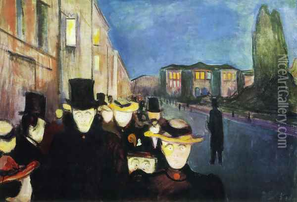 Evening on Karl Johan Street Oil Painting - Edvard Munch