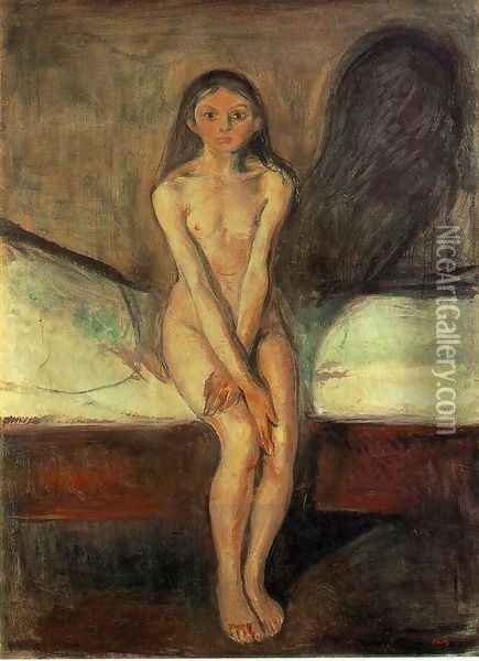 Puberty Oil Painting - Edvard Munch