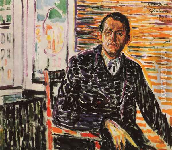 Self-Portrait at Professor Jacobson's Hospital Oil Painting - Edvard Munch