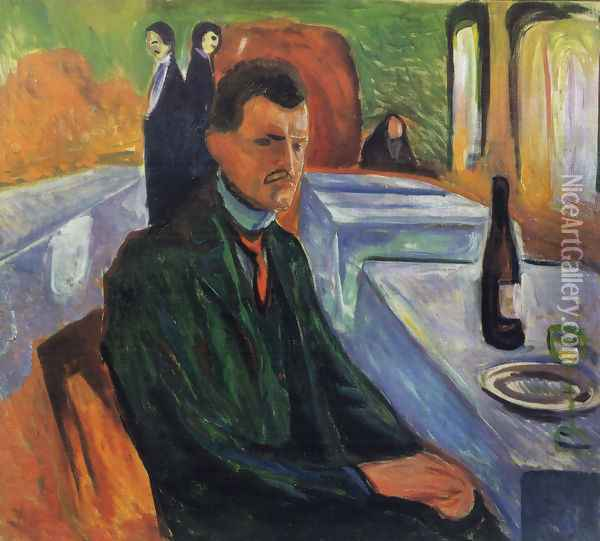 Self-portrait in a bottle of wine 1906 Oil Painting - Edvard Munch