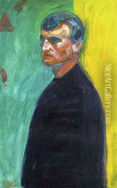 Self Portrait (Against Two-Colored Background) Oil Painting - Edvard Munch