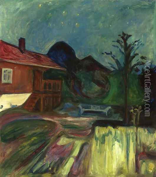 Summer Night, Asgardstrand Oil Painting - Edvard Munch