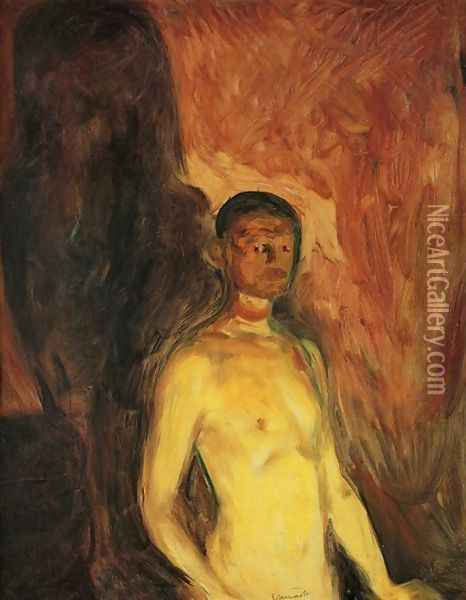Self-Portrait in Hell Oil Painting - Edvard Munch