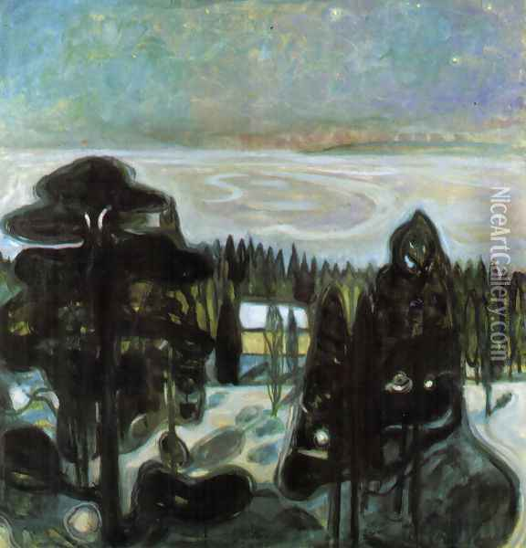 White Night Oil Painting - Edvard Munch