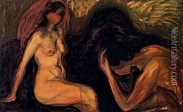 Man and Woman 2 Oil Painting - Edvard Munch
