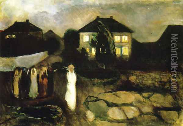 Stormy Night Oil Painting - Edvard Munch