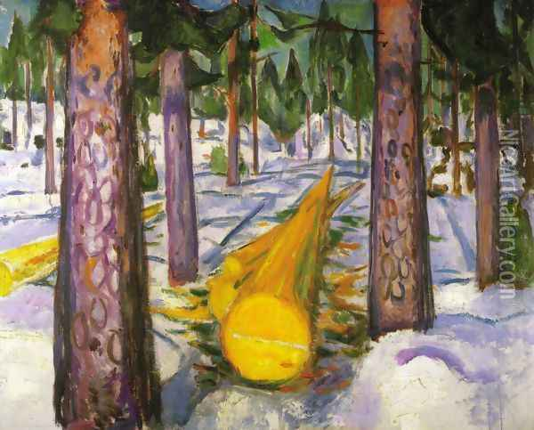 The Yellow Log Oil Painting - Edvard Munch