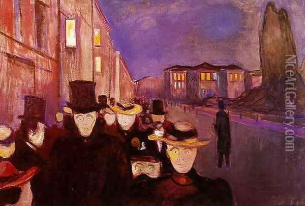 Evening on Karl Johan Oil Painting - Edvard Munch