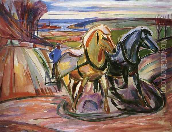 Spring Plowing Oil Painting - Edvard Munch