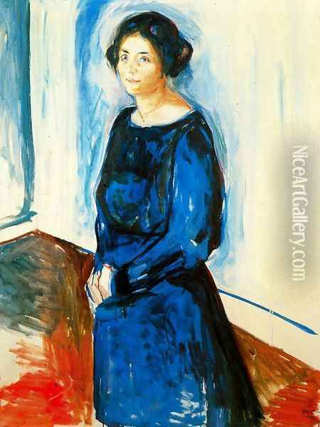 Woman in Blue (Frau Barth) Oil Painting - Edvard Munch