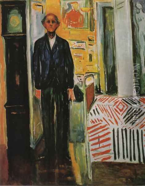 Self-Portrait, Between Clock and Bed Oil Painting - Edvard Munch