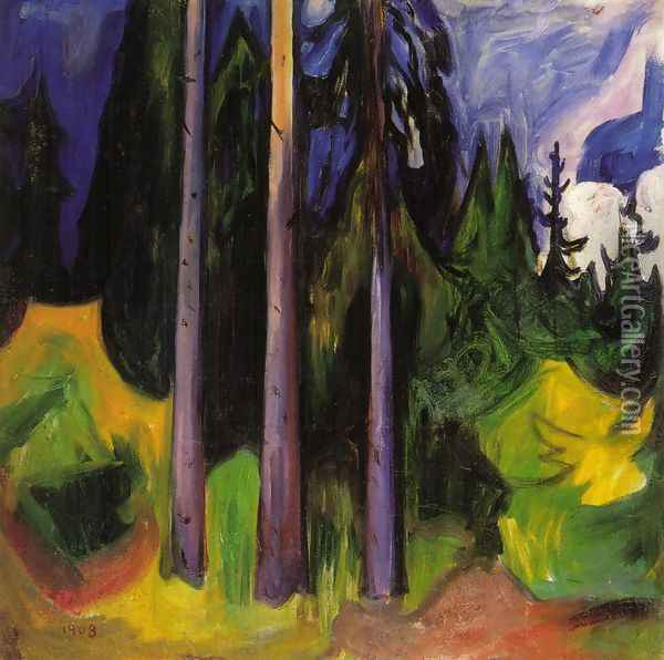 Forest Oil Painting - Edvard Munch