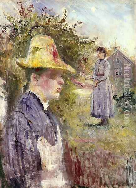 Sisters In The Garden Oil Painting - Edvard Munch