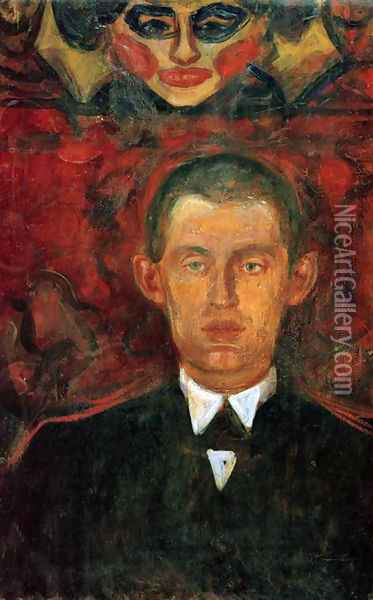 Self-Portrait Beneath Woman's Mask Oil Painting - Edvard Munch
