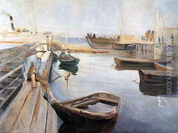 Arrival of the Mail Boat Oil Painting - Edvard Munch