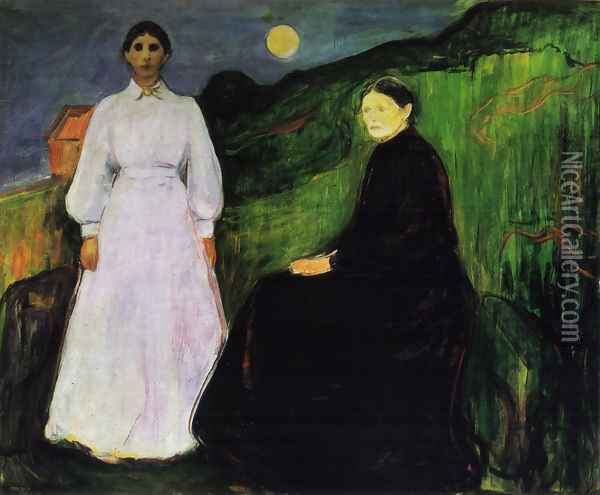 Mother and Daughter Oil Painting - Edvard Munch