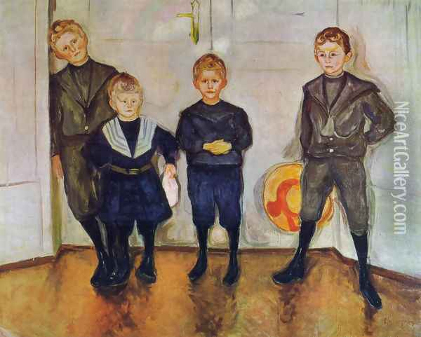 The Four Sons of Dr. Linde Oil Painting - Edvard Munch