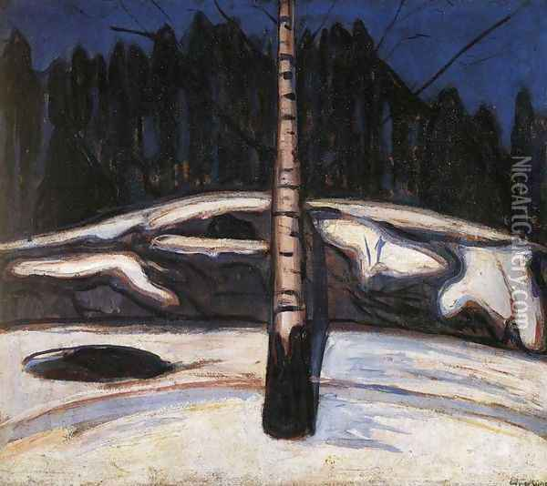 Birch in the Snow Oil Painting - Edvard Munch