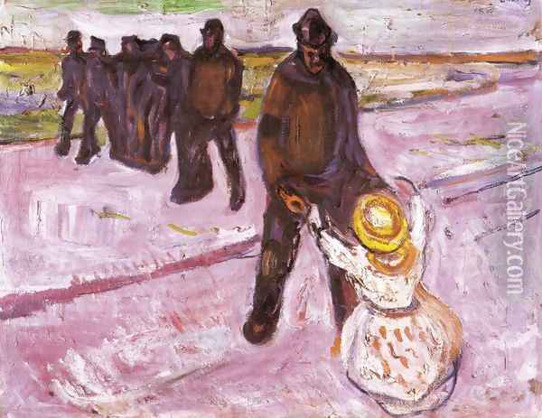 Worker and Child Oil Painting - Edvard Munch