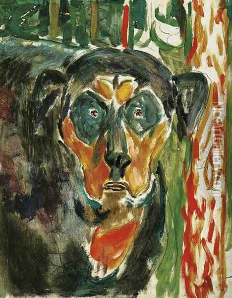 Head of a Dog Oil Painting - Edvard Munch