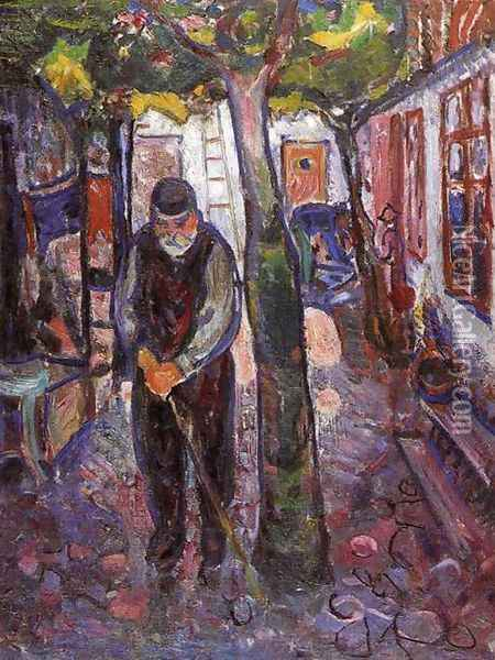 Old Man in Warnemunde Oil Painting - Edvard Munch