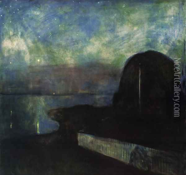 Starry night 1893 Oil Painting - Edvard Munch