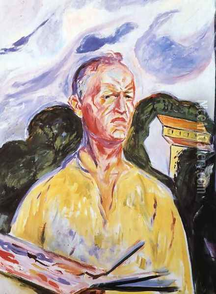Self-Portrait at Ekely Oil Painting - Edvard Munch