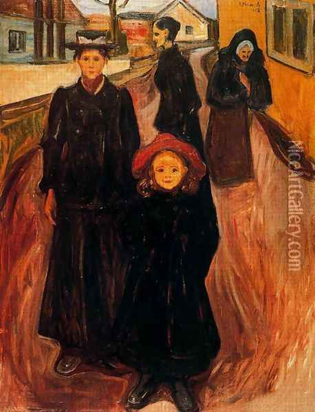 Four Ages in Life Oil Painting - Edvard Munch
