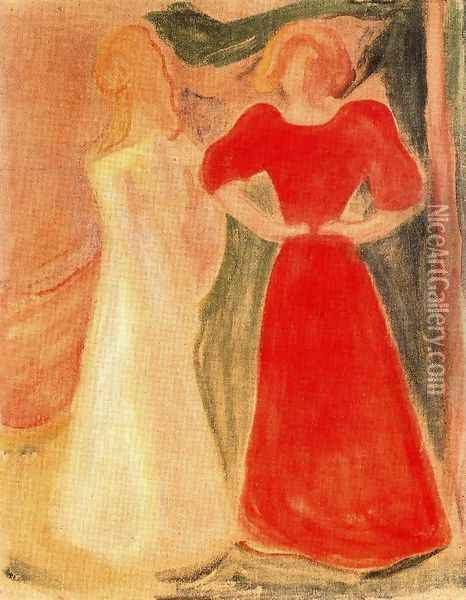 Two Girls Oil Painting - Edvard Munch