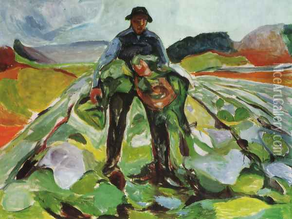 Man in a field of cabbages 1916 Oil Painting - Edvard Munch