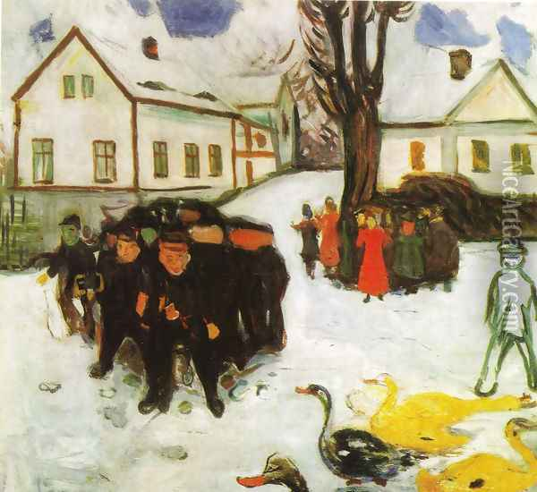 The Village Street Oil Painting - Edvard Munch