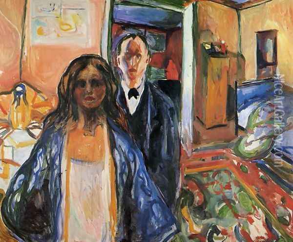 The Artist and His Model Oil Painting - Edvard Munch