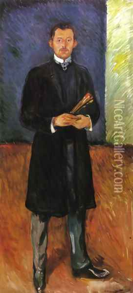 Self-Portrait with Brushes Oil Painting - Edvard Munch