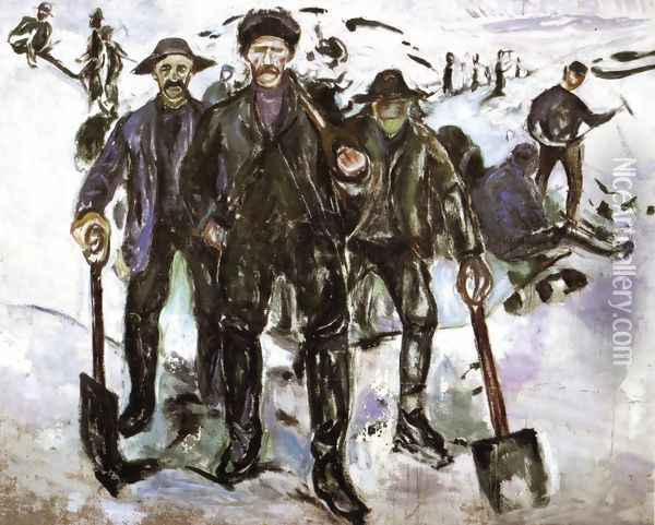 Workers in the Snow Oil Painting - Edvard Munch