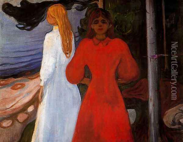 Red and White Oil Painting - Edvard Munch